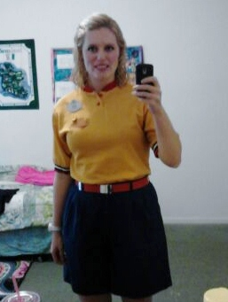 """Wearing my new outfit, my """"referee"""" one, its: yellow shirt, blue shorts, and red belt."""