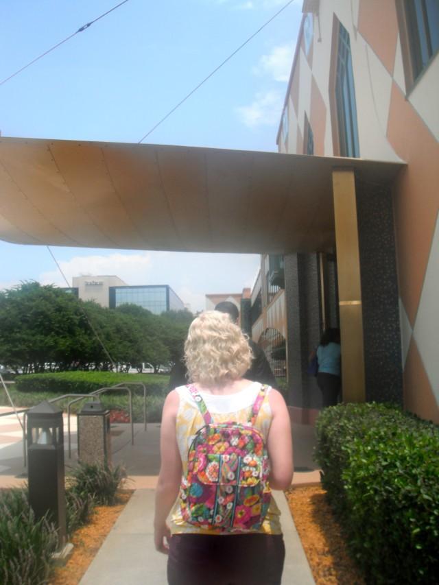 Walking to Disney Casting with Caroline.