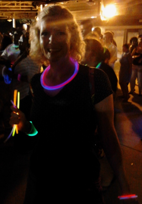 Caroline glowing at the dance party.