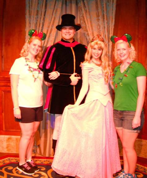 With Prince Phillip and Princess Aurora.