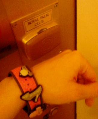 Using my MagicBand to get into the Royal Palm Club.