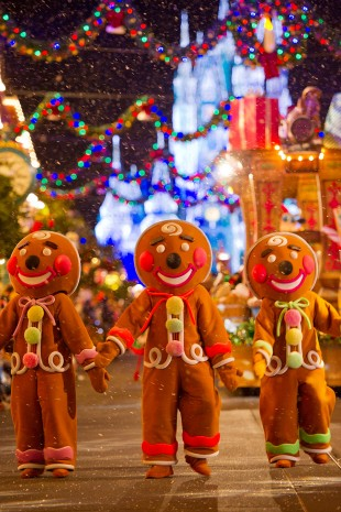 The Gingerbread Men dancing down Main Street USA.