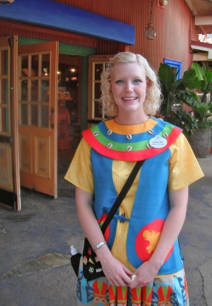 Caroline working at Island Merchandise in the Animal Kingdom.