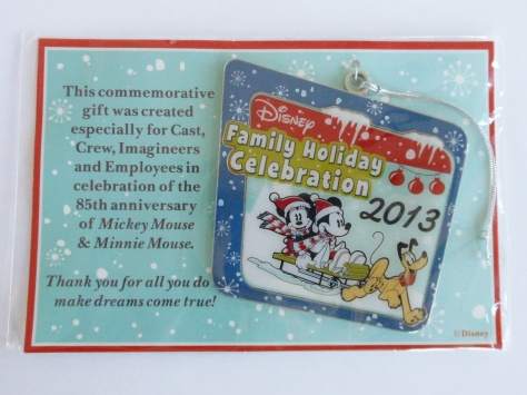 The cast member exclusive ornament that we got from Disney Program as a thank you!