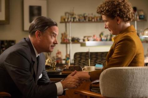 "Tom Hanks as Walt Disney and Emma Thompson as P.L. Travers in ""Saving Mr. Banks""."