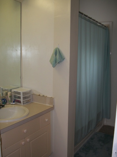 Our huge bathroom with shower/tub and window.  Also has walk-in closet for 2 people with lockers.