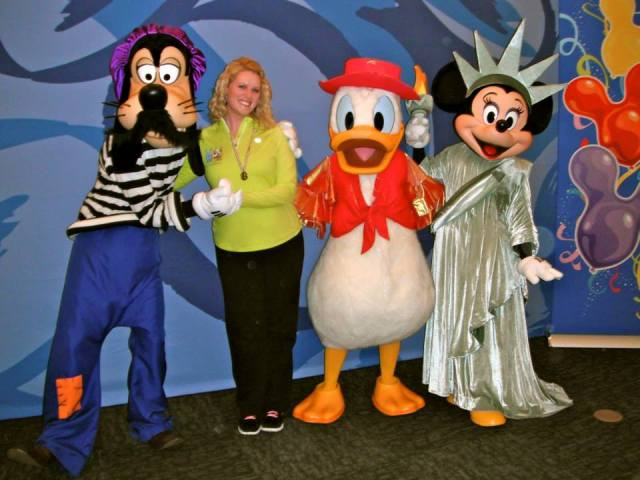 Goofy is from France, Donald from Mexico, Minnie from USA.