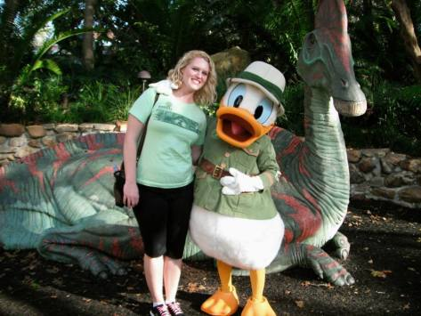 Meeting Donald Duck in DinoLand.