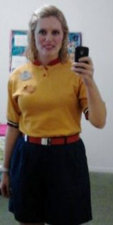Team Mickey costume:  Yellow polo shirt, red belt, navy shorts.