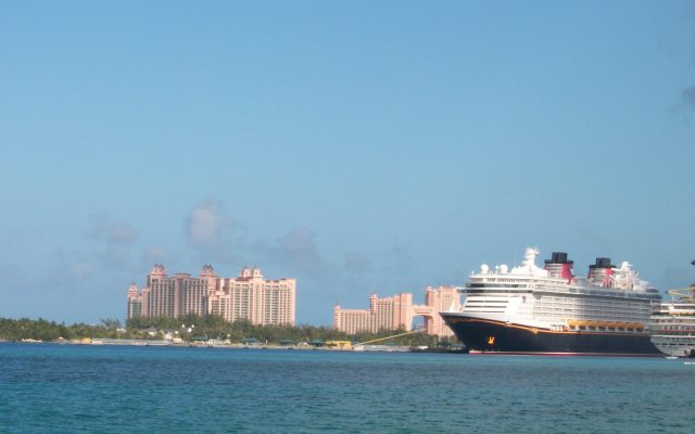 The Disney Dream with Atlantis in the background.