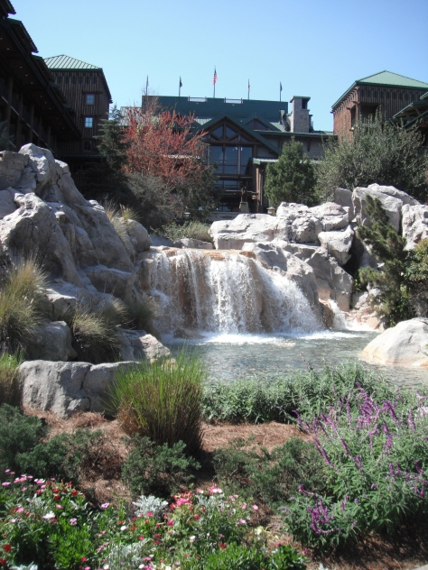 The waterfall at the Wilderness Lodge