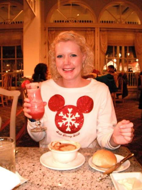 Caroline enjoying her strawberry drink.