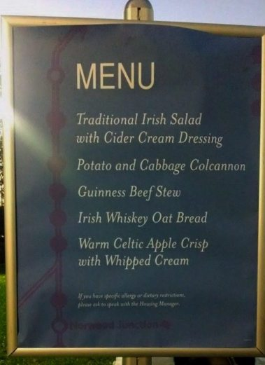 Here's a picture of the menu.