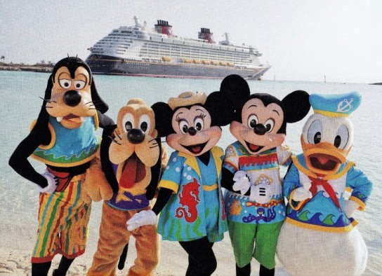 The characters were wearing the same beach costumes that they wear at Castaway Cay in the Bahamas!
