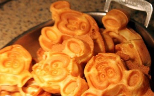 Mickey Waffles with warm syrup.