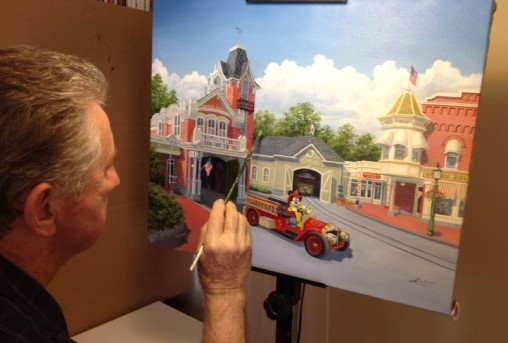 Larry working on his latest piece for Disney.
