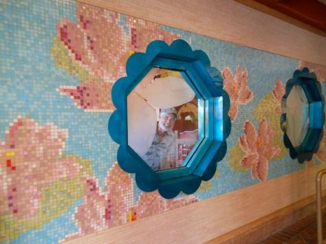 Pretty tiles inside cafe.