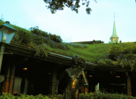 Sod roof with flowers.