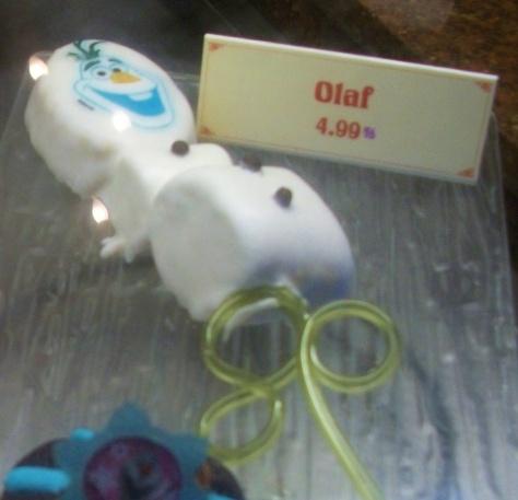 Olaf marshmallows on a straw.