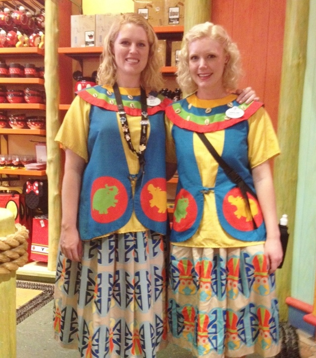 Working with my sister at the Animal Kingdom's Island Merchantile.