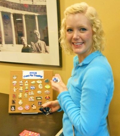 Caroline doing some pin trading.