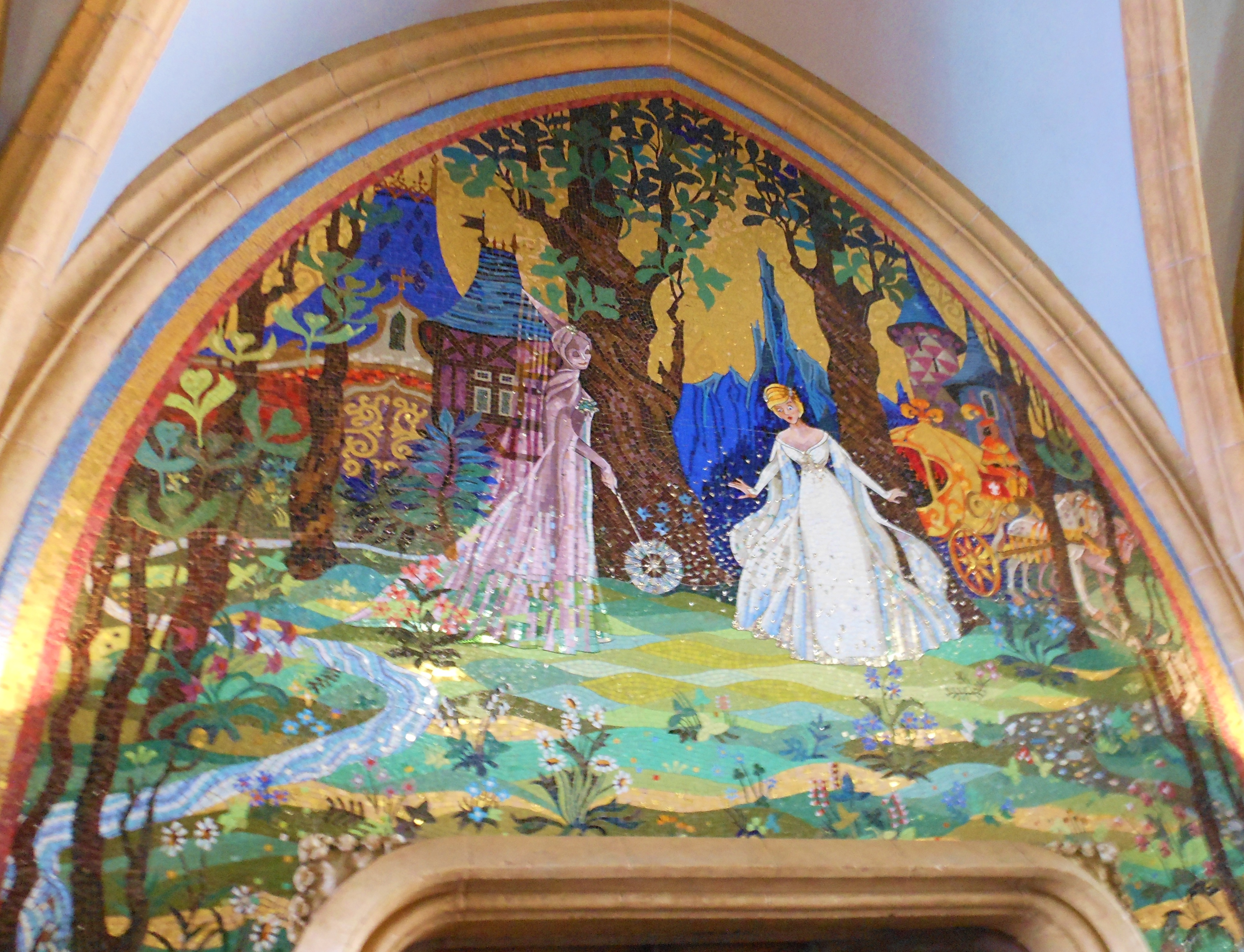 Cinderella castle mural pictures to pin on pinterest for Disney castle mural wallpaper