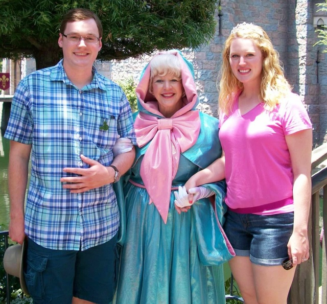 We think that the Fairy Godmother is the oldest face character.  Most princesses are in their early 20s, but she always seems > 60 years old.