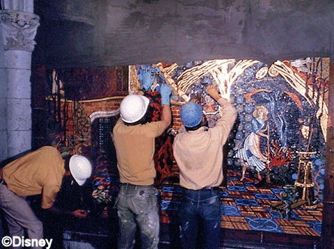 Installing the mural, 1970.