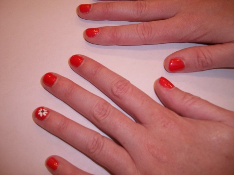 Elly's non-Disney mani, Coral Beach with flowers.