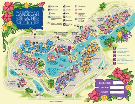 Map of where everything is at Caribbean Beach Resort.
