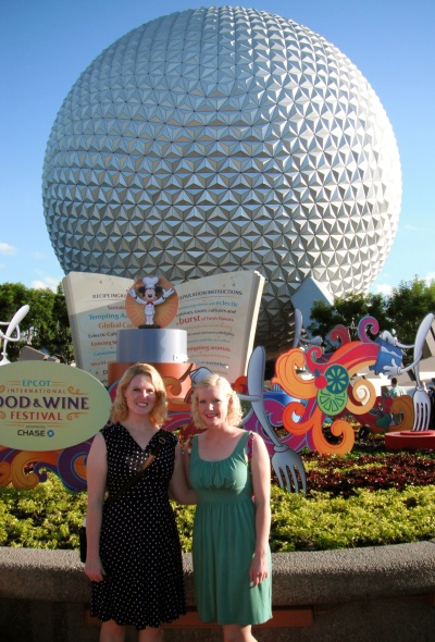 In front of Spaceship Earth.