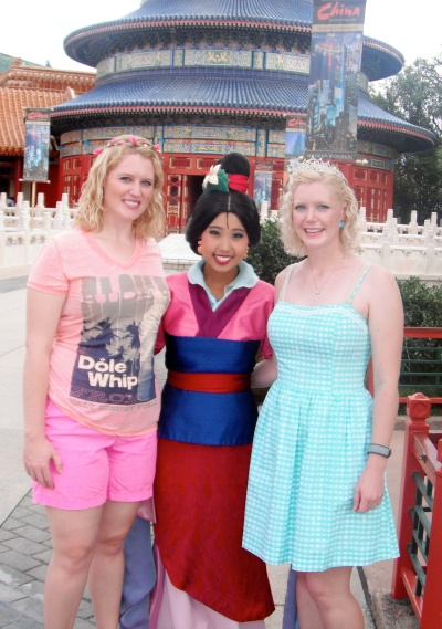 Meeting Mulan at China pavilion.  She is the sweetest person!