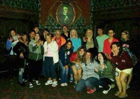 Caroline on the Haunted Mansion tour with DAK cast members.