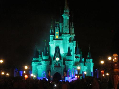 Castle in Halloween colors.