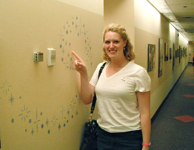 At Disney Casting, finding Hidden Mickeys in the sparkles on the wall!