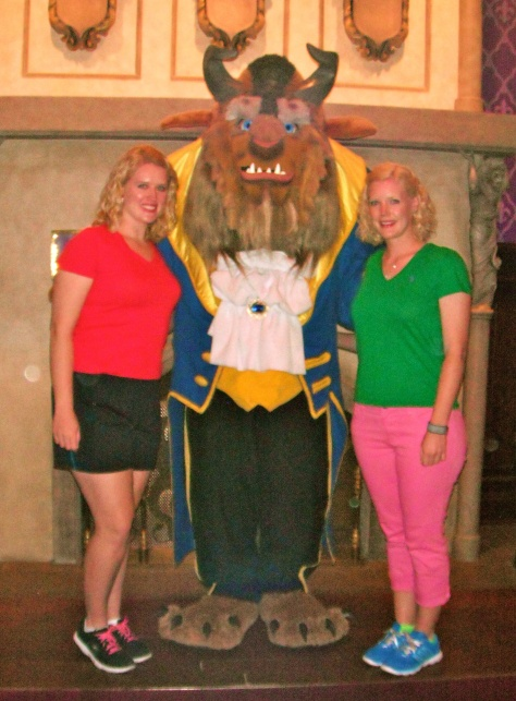 Seeing the Beast at Be Our Guest restaurant where he greets all the guests.