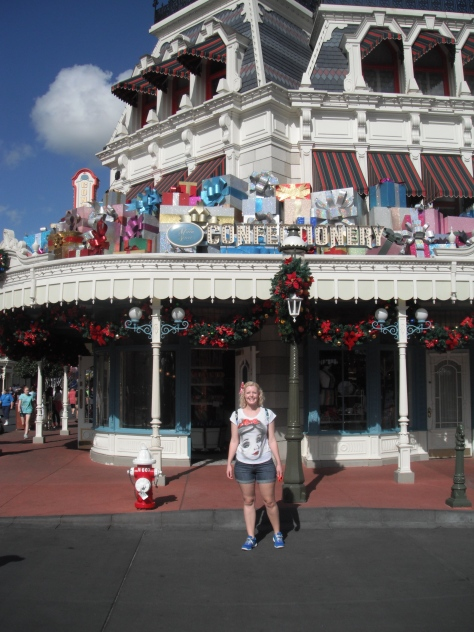On Main Street USA, all decorated for Christmas.
