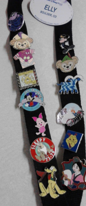 Cast member lanyard with lots of fun trading pins.