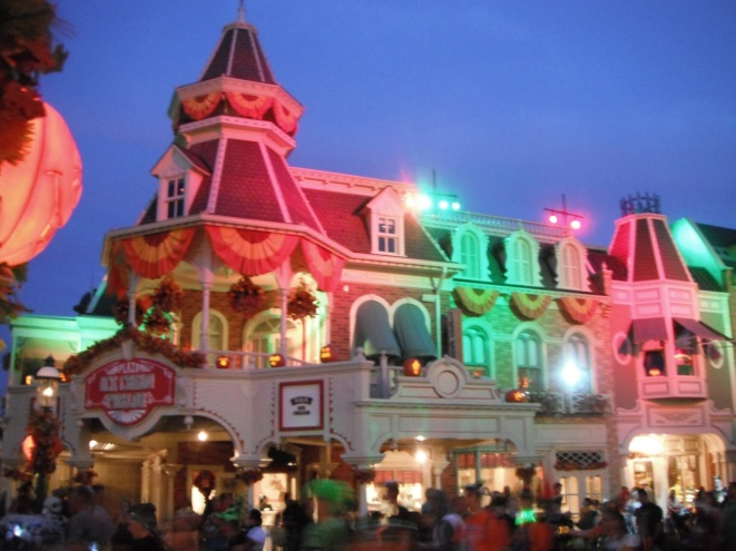 Special party lighting on Main Street USA.