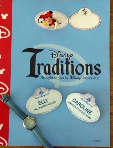 Traditions notebook with our new name tags.