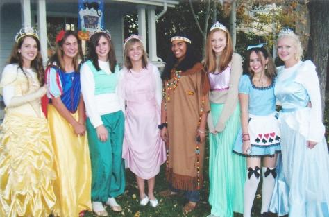 Caroline and her Disney princess girlfriends!