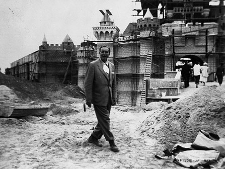 During the construction of Disneyland.  The cigarette has been airbrushed out.