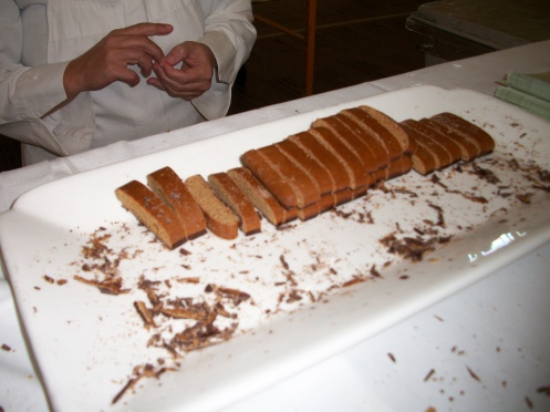 Free samples of the gingerbread for all the guests.  So delicious!  The botton is coated in rich dark chocolate!