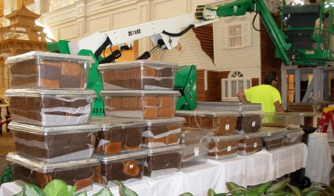 Tables filled with bins and bins of gingerbread!
