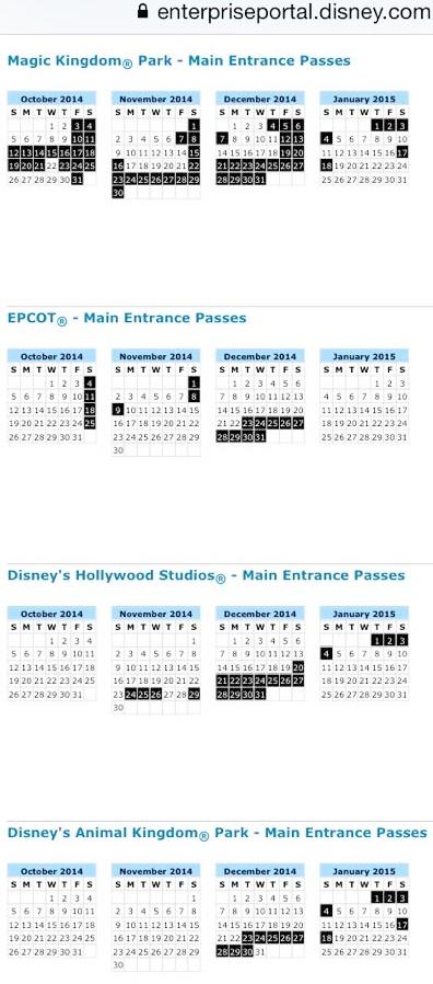 Disney seasonal pass blackout dates in Australia