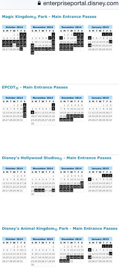 Blackout dates for disney