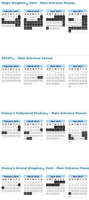 Disney block out dates