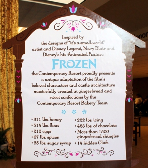 Frozen sign with the recipe details.