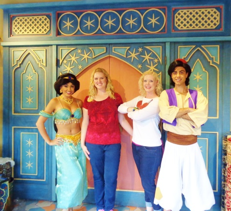 Meeting Aladdin and Jasmine - they were so nice!!