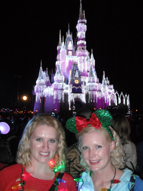 In front of Cinderella Castle with Dream Lights turned on.